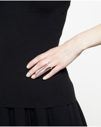 Bijules | Metallic Silver Isis Ring With Peeking Pearls | Lyst