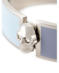 Alexander McQueen Blue Enamel Skull Bangle