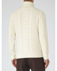 Reiss White Anderson Cable Jumper for men
