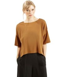 TOPSHOP | Brown Short Sleeve Crop Shirt | Lyst