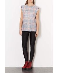 TOPSHOP - Red Tall Tartan Washed Tee - Lyst