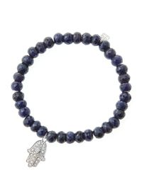 Sydney Evan - Black 6mm Faceted Sapphire Beaded Bracelet With 14k White Gold/diamond Medium Hamsa Charm (made To Order) - Lyst