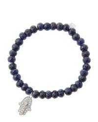 Sydney Evan | Black 6mm Faceted Sapphire Beaded Bracelet With 14k White Gold/diamond Medium Hamsa Charm (made To Order) | Lyst