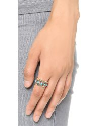 Sam Edelman Blue Stone Stack Ring Set - Turquoise/gold