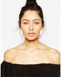 Lipsy - Metallic Solitaire Hoop Through & Through Earrings - Lyst