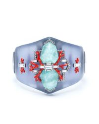Alexis Bittar - Blue Coral Deco Crystal Baguette Hinged Bracelet - Lyst