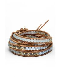 Chan Luu | Blue Beaded Leather Wrap Bracelet - Periwinkle Mix | Lyst