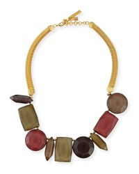 Lafayette 148 New York Metallic Mixed-station Collar Necklace