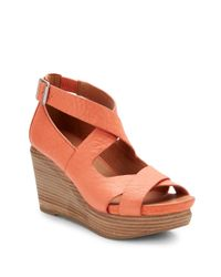 Gentle Souls - Orange Jasione Leather Strappy Wedge Sandals - Lyst