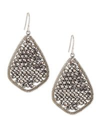 Nakamol Metallic Gunmetal Beaded Teardrop Earrings