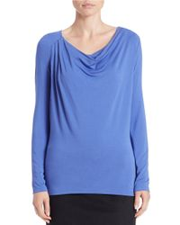 Lord & Taylor | Blue Iconic Fit Draped Neck Blouse | Lyst