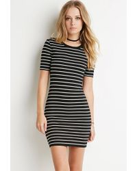 Forever 21 | Black Ribbed Stripe Bodycon Dress | Lyst