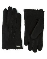 HUGO - Black Stitched Gloves for Men - Lyst
