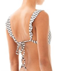 Made By Dawn - Gray Stripe Bikini Top - Lyst