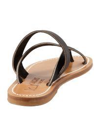 K. Jacques Black Nehru Crisscross Toe Ring Flat Sandal