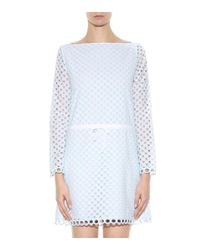 Carven Blue Broderie-Anglaise Cotton Dress