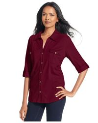 Style & Co. Red Roll-tab Jersey Button-down Shirt