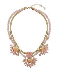 Mikey Pink Flowers On Bead And Metal Chain Necklace
