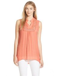 Bobeau | Pink Crochet Inset Sleeveless Top | Lyst