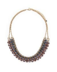Forever 21 | Purple Beaded Bib Necklace | Lyst