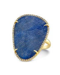 Anne Sisteron | Metallic 14kt Yellow Gold Blue Sapphire Diamond Organic Shape Cocktail Ring | Lyst