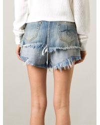 R13 Blue Layered Denim Shorts