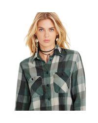 Denim & Supply Ralph Lauren | Green Plaid Cotton Flannel Shirt | Lyst