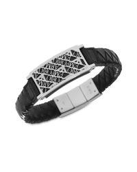 Emporio Armani - Metallic Black Leather Polished Steel Illusion Logo Bracelet for Men - Lyst