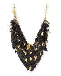 Ashley Pittman   Black Tanzu Dark Horn Layered Chain Leaf Necklace   Lyst