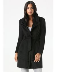 Bebe - Black Abbie Knee Length Wrap Coat - Lyst