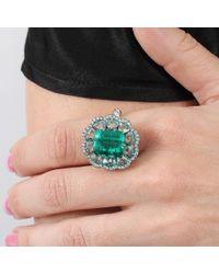 Arunashi Green Columbian Emerald And Diamond Ring