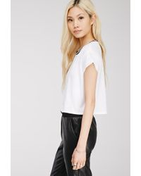 Forever 21 | White Striped Crew Neck Tee | Lyst