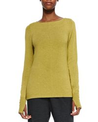 Eileen Fisher - Green Glovette-Sleeve Stretch Knit Top - Lyst