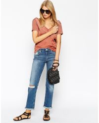 ASOS - Brown T-shirt With Wrap Back In Loose Fabric - Lyst
