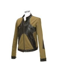 FORZIERI - Green Brown & Olive Italian Leather And Cotton Motorcycle Jacket for Men - Lyst