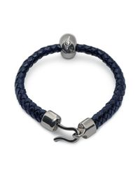Alexander McQueen | Bright Blue Leather Skull Bracelet | Lyst