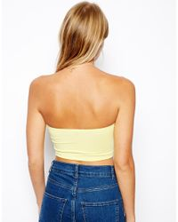 ASOS | Yellow Crop Bandeau Top | Lyst