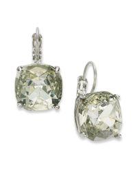 Kate Spade | Metallic Gold-tone Crystal Square Leverback Earrings | Lyst