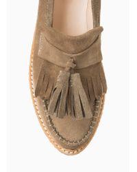 Mango Brown Premium - Platform Suede Loafers