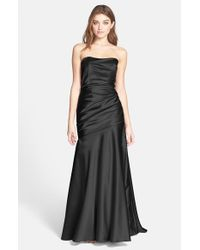 Dessy Collection | Black Ruche Strapless Satin Gown | Lyst