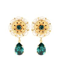 Dolce & Gabbana | Green Crystal-embellished Clip-on Earrings | Lyst