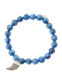 Sydney Evan | Metallic 8Mm Kyanite Beaded Bracelet With 14K Gold/Diamond Medium Horn Charm (Made To Order) | Lyst