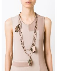 Erika Cavallini Semi Couture | Brown Flower Pendant Necklace | Lyst