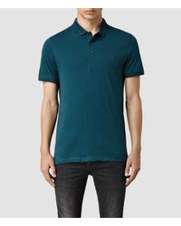 AllSaints | Blue Alter Polo for Men | Lyst