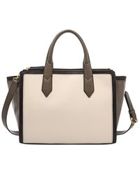 Fossil White Knox Leather Colorblock Shopper