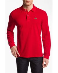 Lacoste | Red Long Sleeve Pique Polo for Men | Lyst