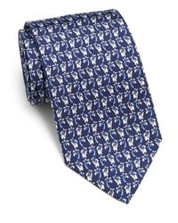 Ferragamo - Blue Elephant-print Silk Tie for Men - Lyst