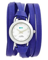 La Mer Collections | Blue 'saturn' Leather Wrap Watch | Lyst