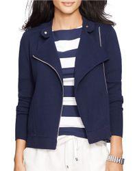 Lauren by Ralph Lauren Blue Moto Cotton Full-zip Sweater