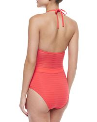 Jets by Jessika Allen - Red Parallels Ribbed V-neck One-piece Swimsuit - Lyst